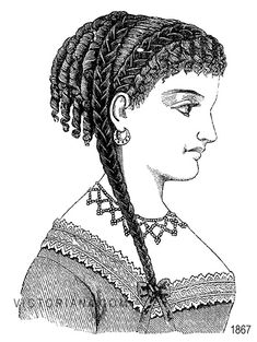 Victorian Hairstyle (1867) Hair Style for a Victorian Ball Victorian hairstyle for a ball. The back of the head is covered with short curls, and a row of short curls fall over the forehead. A broad plait of scarlet velvet is twisted round the head and falls over the shoulde