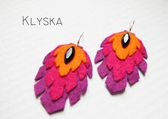 NEW Colourful Felt Feathers Earrings by Klyska on Etsy