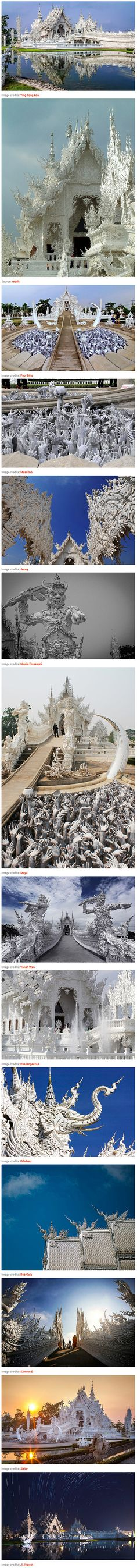 Believe it or not, this is a real place – Wat Rong Khun, better known as the White Temple, is a Buddhist temple in Thailand that looks like it was placed on earth by a god. Though it may have involved divine inspiration, it was in fact designed by a man. Chalermchai Kositpipat, a Thai artist, designed the temple in 1997. It was almost destroyed by an earthquake in May of this year, but Kositpipat was inspired to rebuild the temple after an outpouring of international support urging him not…