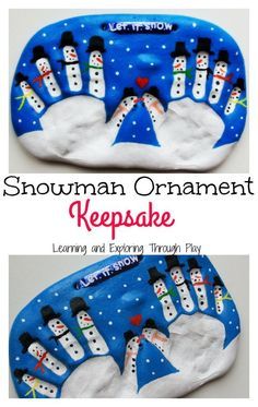 Learning and Exploring Through Play: Salt Dough Snowman Keepsake for Kids to Make Lernen und Erforschen durch Spielen: Salzteig-Schneemann-Andenken, damit Kinder machen Xmas Crafts, Baby Crafts, Toddler Crafts, Christmas Handprint Crafts, Kid Crafts, Sock Snowman, Snowmen, Christmas Holidays, Grandparents Day