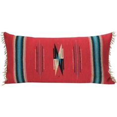 Mexican Red Serape Bolster Pillow | From a unique collection of antique and modern native american objects at https://www.1stdibs.com/furniture/folk-art/native-american-objects/