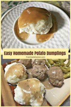Easy Homemade Potato Dumplings Recipe (Potato Balls - My Recipes - Dumpling Rezepte Potato Dumplings German, Meat Dumplings Recipe, Potato Dumpling Recipe, Drop Dumplings, Homemade Dumplings, Dumplings For Soup, Making Mashed Potatoes, Creamed Potatoes, Lithuanian Recipes