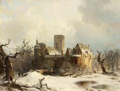 Carl Hilgers - Winter landscape with castle Winter Landscape, Landscape Art, Landscape Paintings, Fantasy Paintings, Great Paintings, Fantasy Kunst, Fantasy Art, Illustrations, Illustration Art