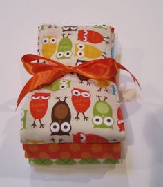Burp Cloth Set Premium 6 Ply Baby Boy  - Urban Zoologie Owls in Bermuda. $14.50, via Etsy.