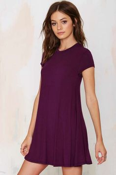 Pretty Plum Shirt Cut Dress