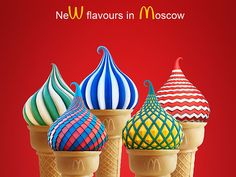 This McDonald's ad was released in Moscow, Russia and does an adequate job appealing to their audience by making their products resemble their culture's dome architecture. #TRCM454 #Internationalad #audienceanalysis https://www.behance.net/gallery/16310309/McDonalds-Taste-of-Moscow