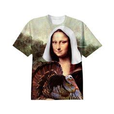 Thanksgiving Mona Lisa Pilgrim Cotton T-shirt by #Gravityx9 #PAOM  #PrintAllOverMe #SpoofingTheArts -