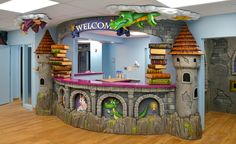 Magical castle themed reception desk by Imagination Dental Solutions