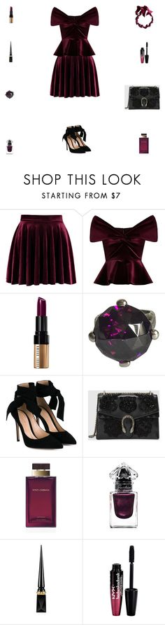 """Contest: Black & Berry Silk & Velvet Outfit"" by billsacred ❤ liked on Polyvore featuring Emilio De La Morena, Bobbi Brown Cosmetics, Just Cavalli, Gianvito Rossi, Gucci, Dolce&Gabbana, Guerlain, Christian Louboutin, Charlotte Russe and Lanvin"