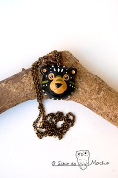 Bear necklace | Black bear | Ethnic style in dark brown and green colors.