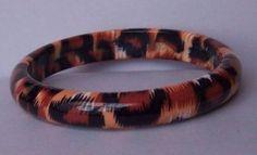 Black White Brown Animal Print Bangle Bracelet