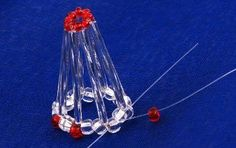 Time for bells. Simple and charming bell that anyone can do . On the line threaded tube, red bead, tube, and 2 crystal beads, crucif. Beaded Christmas Ornaments, Christmas Bells, Christmas Tree Decorations, Christmas Crafts, Christmas Things, Holiday Decor, Safety Pin Crafts, Crystal Beads, Crystals