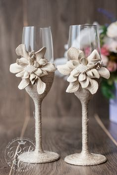 IVORY Wedding glasses/ rustic wedding  Vintage от RusticBeachChic
