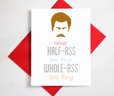 Ron Swanson Birthday Card Parks and Recreation Nick Offerman