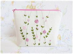 Ribbon embroidery zip pouch pink rose by KawaiiSakuraHandmade