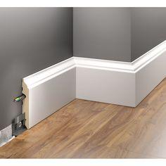 ✅ BIAŁA LISTWA PRZYPODŁOGOWA LMDF-05 CREATIVA - TO OKLEINOWANA LISTWA PODŁOGOWA Z MDF- u ✪ W ELEGANCKIM KLASYCZNYM STYLU Living Room Partition Design, Corridor Design, Room Partition Designs, Living Room Sofa Design, Sliding Door Room Dividers, Staircase Design Modern, Baseboard Styles, Baseboard Ideas, American Kitchen Design