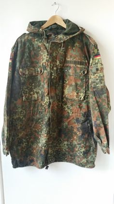 German army flecktarn parka smock jacket Genuine vintage Bundeswehr military coat issued