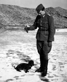 Nazi with dachshund, poor Doxie