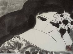 Walasse Ting, Black and White Lady with Flowers Shanghai, Chinese American, Rice Paper, Fine Art Gallery, Art Forms, Original Artwork, Black And White, Drawings, Lady