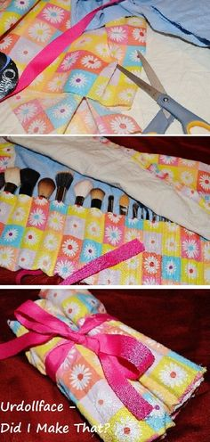 Make your own makeup brush roll case.