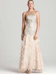 NEW! SUE WONG BEADED SEQUIN CHAMPAGNE SILVER GORGEOUS OSTRICH FEATHER 6 #W2111 #SueWong