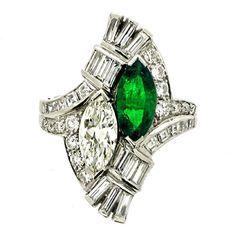 J.E. CALDWELL Natural Unenhanced Emerald Diamond Cocktail Ring (c. 1940 United States)