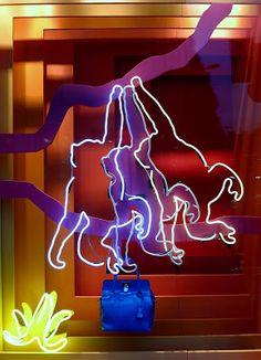 www.retailstorewindows.com: Hermes, London Fashion Window Display, Shop Window Displays, Visual Merchandising, Neon Light Signs, Neon Signs, Hermes Window, Neon Jungle, Neon Sign Art, Accessories Display