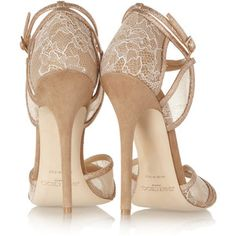 Jimmy Choo Fitch lace and glitter-finish suede sandals style=