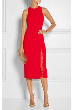 Tamara Mellon|Lace-paneled stretch-wool midi dress|NET-A-PORTER.COM