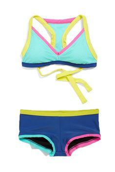 colorful mesh bikini with t-back