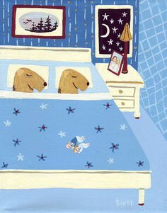 Welsh Terriers in Bed Art Print - Blue Bedroom 8x10 Dog Illustration - People Have to Sleep at Foot of Bed