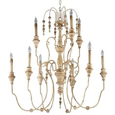 "The Maison Chandelier brings the French countryside to every room. Constructed from wrought iron finished in a proprietary ""Persian White"" finish add antiqued elegance to this nine light chandelier. Sophistication meets country classic at its best."