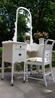 Customize a Painted Vanity Dressing Table with Mirror Ladies Desk