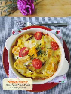 Cuisine Paradise | Singapore Food Blog | Recipes, Reviews And Travel: [3 recipes] Homemade Pasta using Philips Avance Noodle Maker (HR2365/05) - Baked Pumpkin Fettuccine