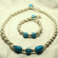 Set Beaded Hemp Necklace and Bracelet.