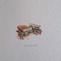 "Day 202: ""When in doubt, have a BLT."" For Mike, from Vanya ♡. 21 x 13 mm…"