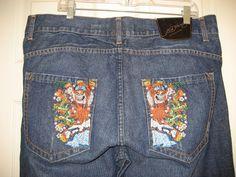 Ed Hardy Christian Audigier Mens Skulls Dragon Tatoo Denim Blue Jeans  38 x 34.5 #EdHardy #Relaxed