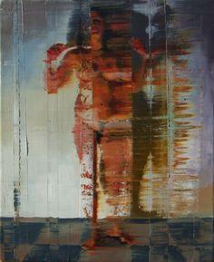 Nu com braços erguidos e sombra. 36 cm x 46 cm. óleo sobre tela. Taigo Meireles. 2011