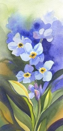 flower, forget-me-not, watercolor painting