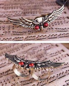 Flying Owl Alloy Rhinestone Bicyclo-ring