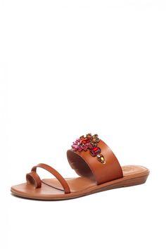 Junami Wedge Sandal in Tan Red