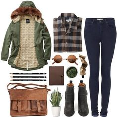 A fashion look from July 2013 featuring checkered shirt, green coat and skinny jeans. Browse and shop related looks. Coach Outlet, Zooey Deschanel, Fall Winter Outfits, Autumn Winter Fashion, Winter Style, Teen Fashion, Womens Fashion, Fashion Trends, Fashion Clothes