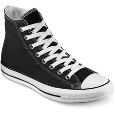 Converse Unisex Chuck Taylor All Star High-Top Sneakers (179.295 COP) ❤ liked on Polyvore featuring shoes, sneakers, converse, black, black high top sneakers, high top trainers, black hi top sneakers, black high top shoes and high top sneakers