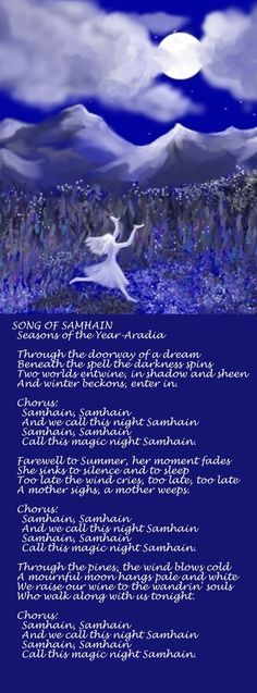 Samain: Song of ~ Seasons of the Year-Aradia. This is from an old Pagan tape. Wicca Witchcraft, Wiccan, Magick, Blessed Samhain, Samhain Halloween, Eclectic Witch, Season Of The Witch, Mabon, Sabbats