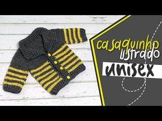 CASACO LISTRADO UNISSEX TAMANHO 1 AO 6 ANOS - YouTube Crochet Baby, Knit Crochet, Crochet Jacket, Knitting Videos, Kids And Parenting, Baby Dress, Baby Gifts, Baby Boy, Unisex