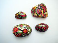 Colorfull flower set  inspired hand painted by inspiredstone, €8.00