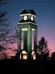 Clock tower at Missouri Western State University.