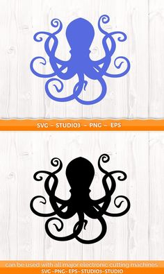Monogram Alphabet, Monogram Frame, Silhouette Clip Art, Silhouette Design, Octopus Design, Octopus Tattoos, Octopus Tentacles, Kraken, Cricut Creations