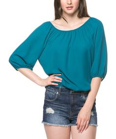 Look what I found on #zulily! Magic Fit Teal Blouson Tee - Women by Magic Fit #zulilyfinds