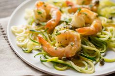 Shrimp Piccata - Zucchini noodles (zoodles) tossed with shrimp sautéed in garlic and topped with a white wine sauce. Served with capers and a squeeze of lemon ... dinner is on the table in less than 45 minutes! From Saving Room for Dessert